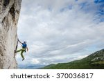 young man climbing natural... | Shutterstock . vector #370036817