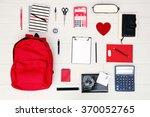 school set with backpack  heart ...   Shutterstock . vector #370052765