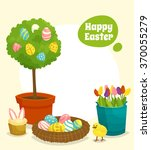 easter poster with tree nest... | Shutterstock .eps vector #370055279