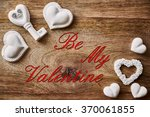 chalk heart and key on wood and ... | Shutterstock . vector #370061855