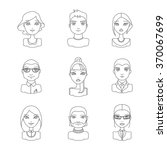 linear style people icon set.... | Shutterstock .eps vector #370067699