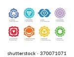 chakras vector set   ayurveda ... | Shutterstock .eps vector #370071071