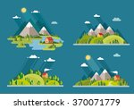 summer  landscape set. houses... | Shutterstock .eps vector #370071779