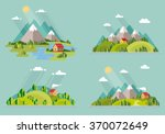 Stock vector summer landscape set houses in the mountains among the trees rest in a mountain village the lake 370072649