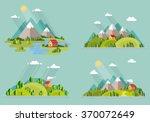 Summer  Landscape Set. Houses...