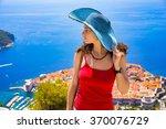 beautiful girl in dubrovnik ... | Shutterstock . vector #370076729