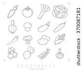 set of line vegetable icons.... | Shutterstock .eps vector #370087181