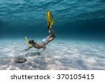 underwater shot of the lady... | Shutterstock . vector #370105415
