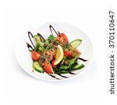 salad of vegetables and meat on ... | Shutterstock . vector #370110647