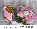 valentine flowers on wooden... | Shutterstock . vector #370123139