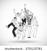 group happy young people... | Shutterstock .eps vector #370123781