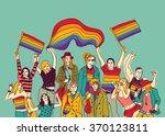 lgbt happy gay meeting people... | Shutterstock .eps vector #370123811