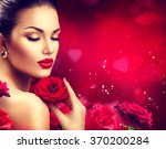 beauty woman with red rose.... | Shutterstock . vector #370200284