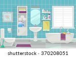modern bathroom interior.... | Shutterstock .eps vector #370208051