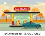 petrol gas station. vector flat ... | Shutterstock .eps vector #370227269