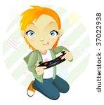 gamegirl. tomboy.   Shutterstock .eps vector #37022938