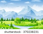 summer landscape with meadows... | Shutterstock .eps vector #370238231
