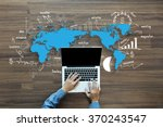 world map with creative... | Shutterstock . vector #370243547