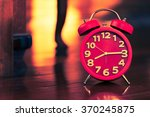 red alarm clock on wood... | Shutterstock . vector #370245875