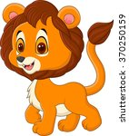 cute baby lion walking isolated ... | Shutterstock .eps vector #370250159