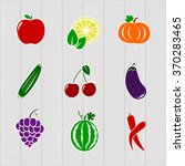 set different bright vegetables ... | Shutterstock .eps vector #370283465