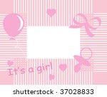 baby girl arrival announcement...   Shutterstock .eps vector #37028833