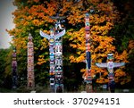 Stock photo totem poles in stanley park vancouver 370294151