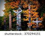 totem poles in stanley park... | Shutterstock . vector #370294151