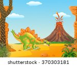 cartoon cute stegosaurus posing ... | Shutterstock . vector #370303181