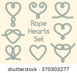 set of rope hearts decorative... | Shutterstock .eps vector #370303277
