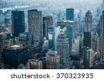 sunset in manhattan  new york ... | Shutterstock . vector #370323935