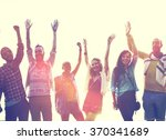 teenagers friends beach party... | Shutterstock . vector #370341689