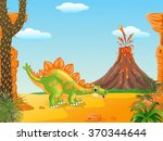 cartoon cute stegosaurus posing ... | Shutterstock .eps vector #370344644
