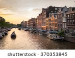 Stock photo amsterdam the netherlands june prinsengracht canal a beautiful sunset on june 370353845