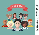 vector children avatars. set of ... | Shutterstock .eps vector #370359311
