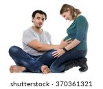 man and pregnant woman in front ... | Shutterstock . vector #370361321