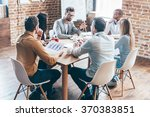 everyday meeting. group of six... | Shutterstock . vector #370383851