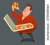 Man Eating A Big Slice Of Pizz...