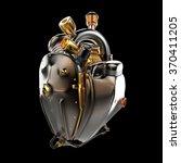 diesel punk robot techno heart. ... | Shutterstock . vector #370411205