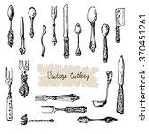 vintage cutlery. hand drawn set ... | Shutterstock .eps vector #370451261