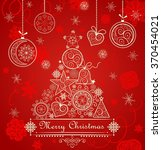 vintage red christmas card with ... | Shutterstock . vector #370454021