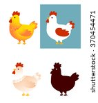 cute vector set of chicken... | Shutterstock .eps vector #370454471