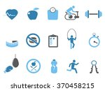 blue fitness icons set | Shutterstock .eps vector #370458215