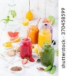 smoothies  juices  beverages ... | Shutterstock . vector #370458599