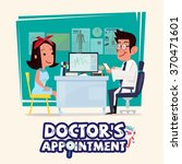 doctor talking with female...   Shutterstock .eps vector #370471601