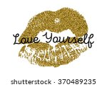 Poster With Gold Glitter Lips...