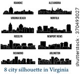 set of 8 city silhouette in... | Shutterstock .eps vector #370493027