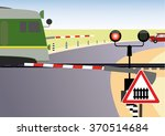 railroad crossing with train ... | Shutterstock .eps vector #370514684
