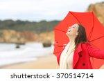 Joyful Woman Wearing Red Jacket ...