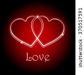two interlocked neon red hearts ... | Shutterstock .eps vector #370517591